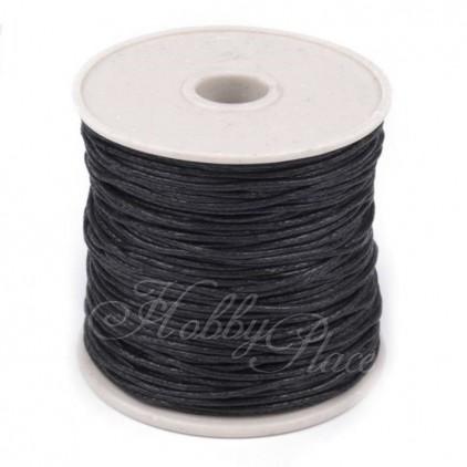 Sznurek woskowany - Ø1mm - szpula - czarny