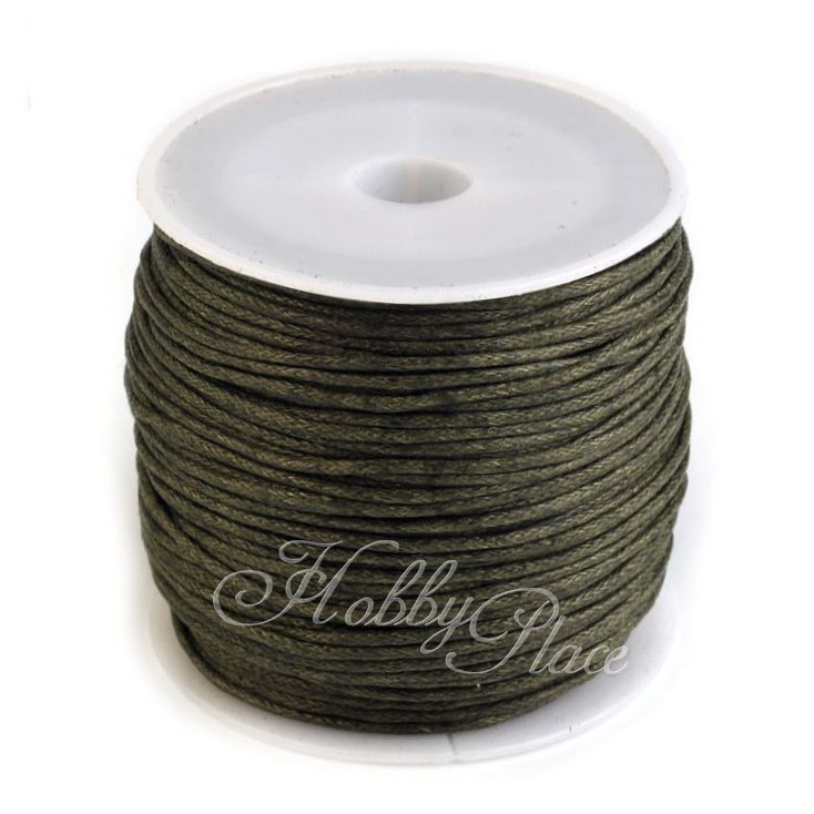 Cotton Waxed Cord - Ø1mm - one spool - khaki
