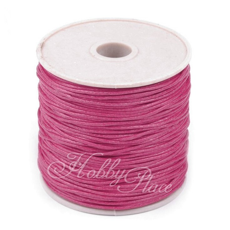 Cotton Waxed Cord - Ø1mm - one spool - dark pink