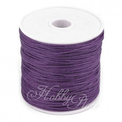 Cotton Waxed Cord - Ø1mm - one spool - plum