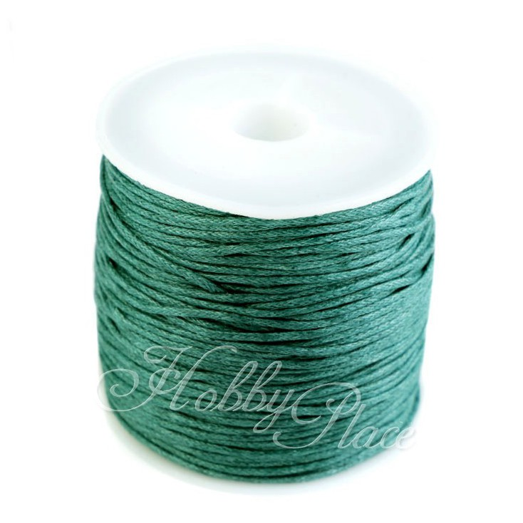 Cotton Waxed Cord - Ø1mm - one spool - green fir