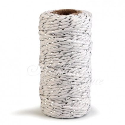 Sznurek ozdobny ze srebrną nitką- Ø1,5 mm - biało-sebrny