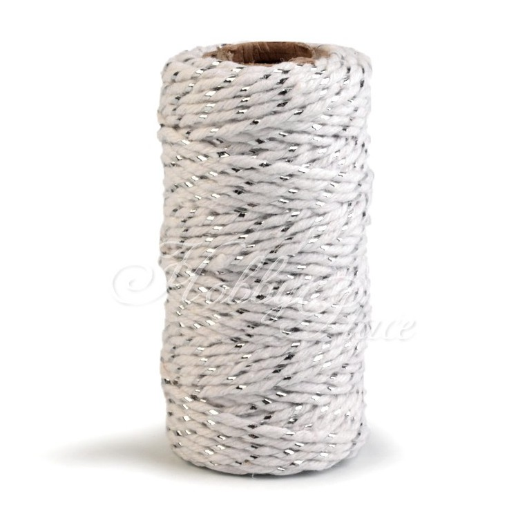 Decorative twine with silver thread - Ø1,5mm - white and silver