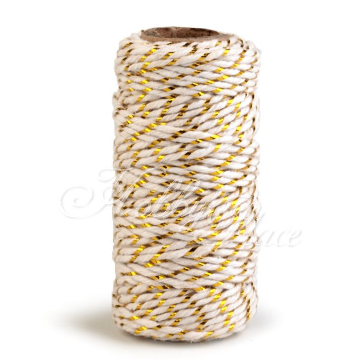 Decorative twine with gold thread - Ø1,5mm - white and gold