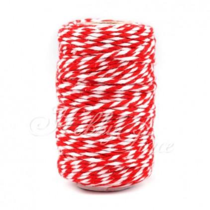 Sznurek ozdobny - Ø1,5 mm - czerwono-biały