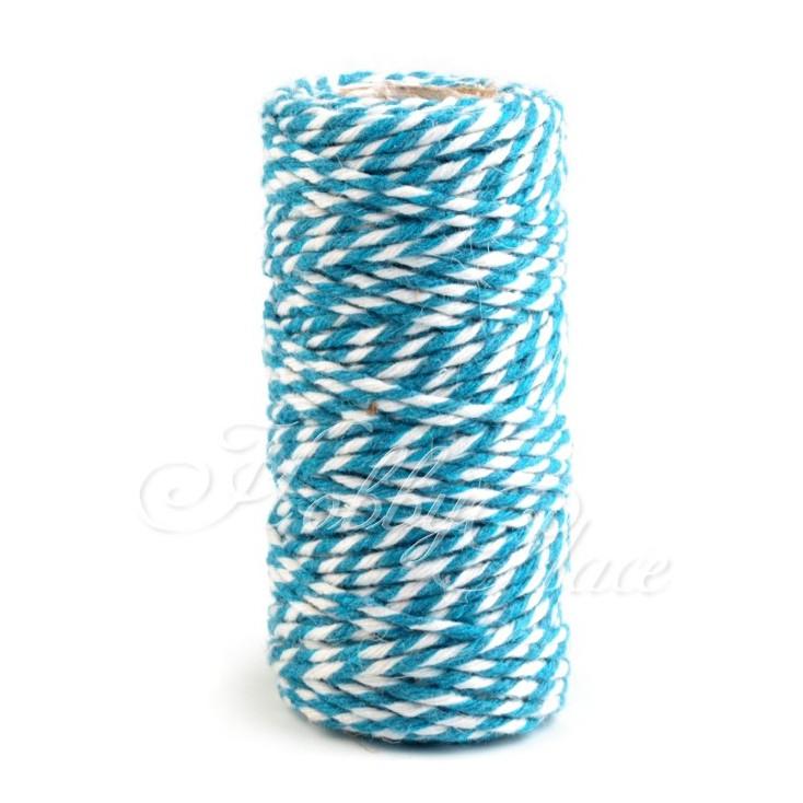 Sznurek ozdobny - Ø1,5 mm - niebiesko-biały