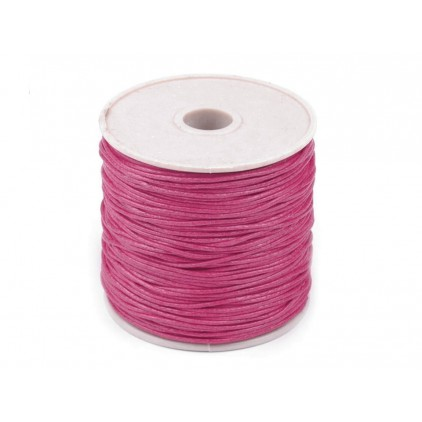 Cotton Waxed Cord - Ø1mm - one spool - raspberry