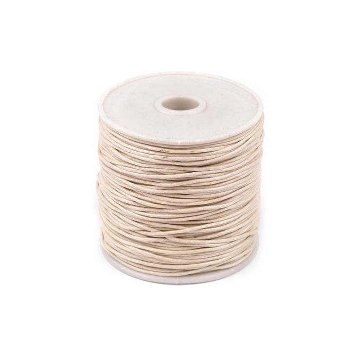 Cotton Waxed Cord - Ø1mm - one spool - beige