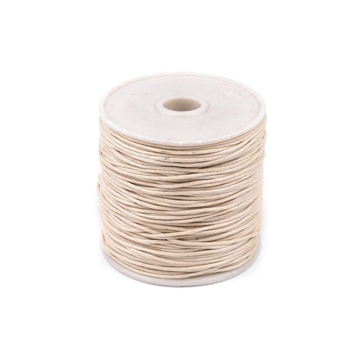 Cotton Waxed Cord - Ø1mm - one spool - beige