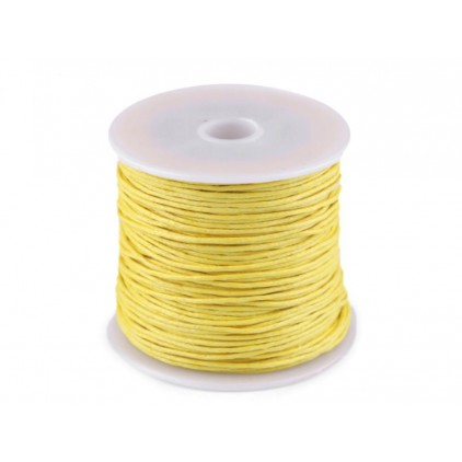 Cotton Waxed Cord - Ø1mm - one spool -yellow