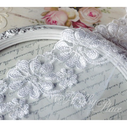 Embroidered lace on monofilament - widh 10cm - white - 1 meter