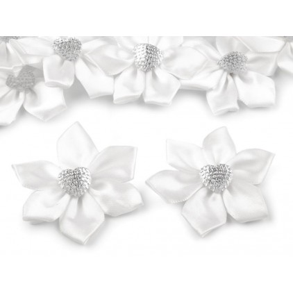 Satin flower with heart - white