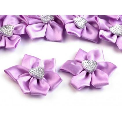 Satynowy kwiatek z serduszkiem - fioletowy