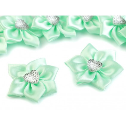 Satin flower with heart - mint