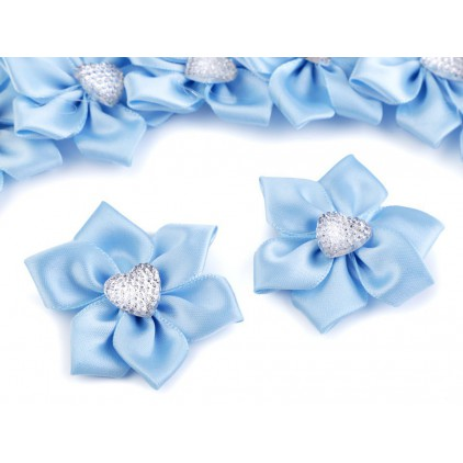 Satin flower with heart - blue