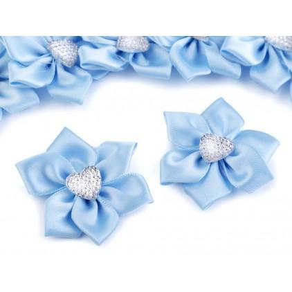 Satynowy kwiatek z serduszkiem - błękitny