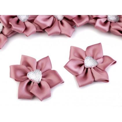 Satynowy kwiatek z serduszkiem - różowy antyczny