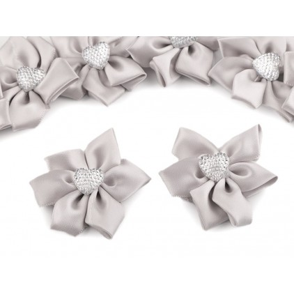 Satin flower with heart - light grey