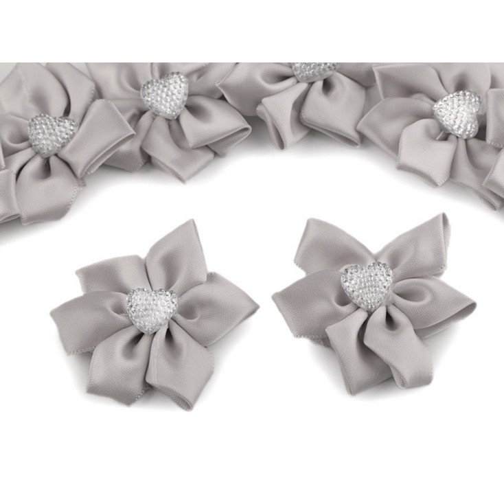 Satin flower with heart - pearl gray
