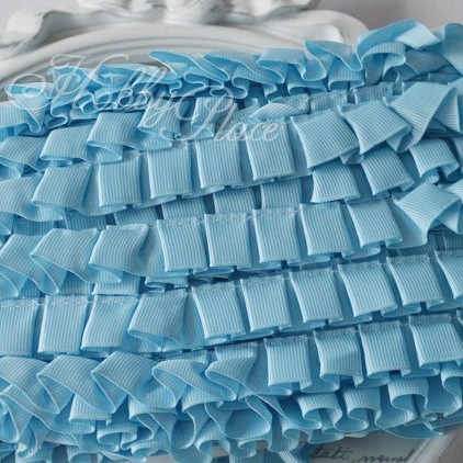 Blue pleated grosgrain ribbon