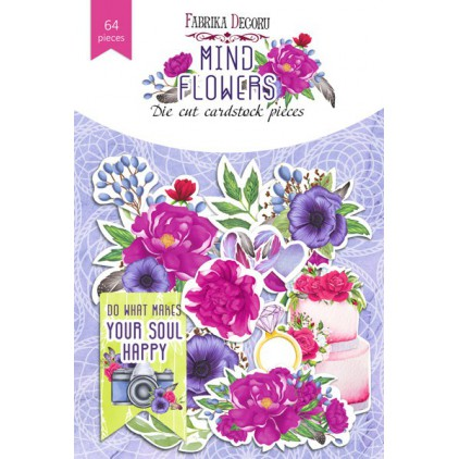 Set of die cuts 65 pieces - Mind flowers - Fabrika Decoru FDSDC-04065