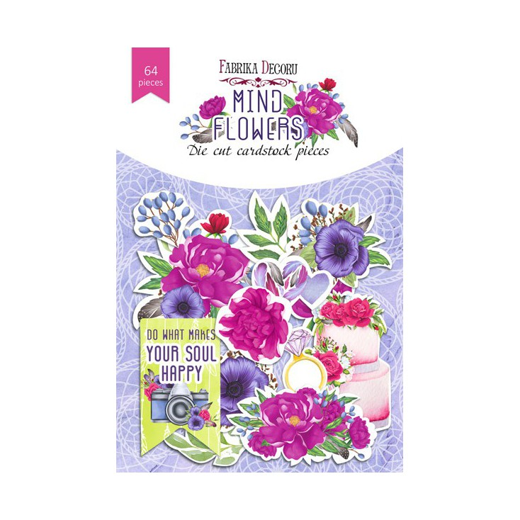 Wycinanki z papieru 64 części - Mind flowers - Fabrika Decoru FDSDC-04065