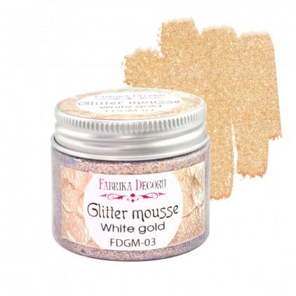 Glitter mousse - white gold - 50ml - Fabrika Decoru