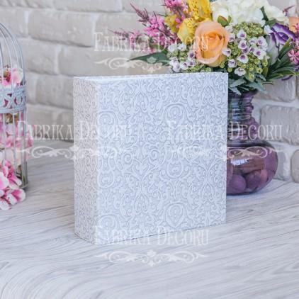 """Album base square - texture """"Gray ornament with glitter""""- 20x20x7 cm - Fabrika Decoru"""