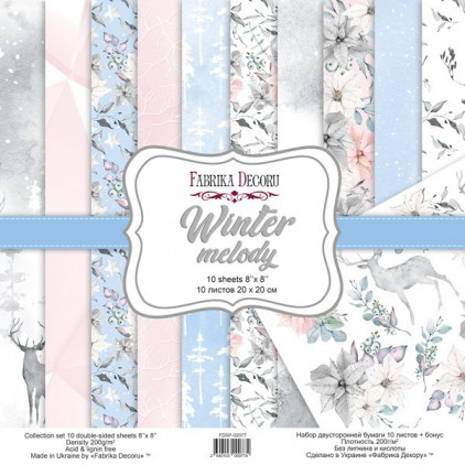 Set of scrapbooking papers - Fabrika Decoru 20 x 20cm - Winter melody FDSP-02077