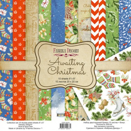 Set of scrapbooking papers - Fabrika Decoru 20 x 20cm - Awaiting Christmas FDSP-02078