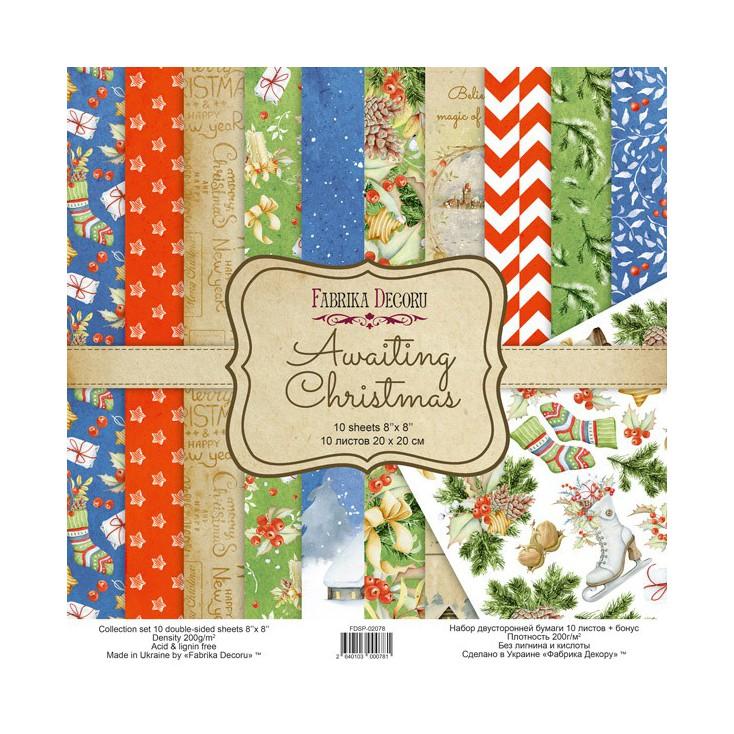 Zestaw papierów do tworzenia kartek i scrapbookingu 20 x 20cm - Fabrika Decoru - Awaiting Christmas FDSP-02078