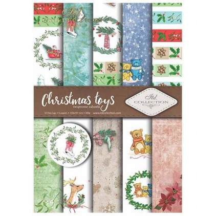 Set of scrapbooking papers - Christmas toys - ITD Collection - SCRAP026
