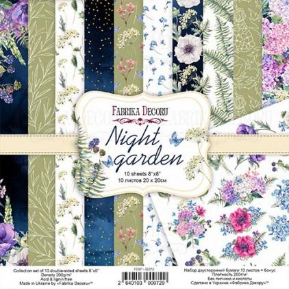 Zestaw papierów do tworzenia kartek i scrapbookingu 20 x 20cm - Fabrika Decoru - Night garden FDSP-02072