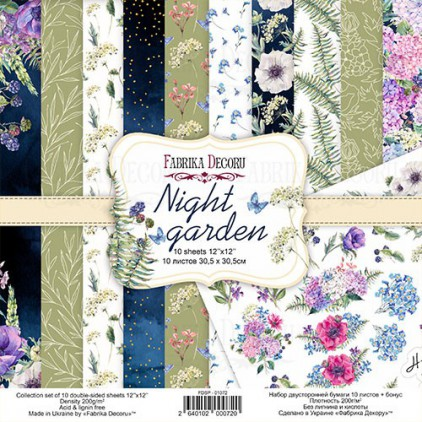 Zestaw papierów do tworzenia kartek i scrapbookingu - Fabrika Decoru - Night garden - FDSP-01072