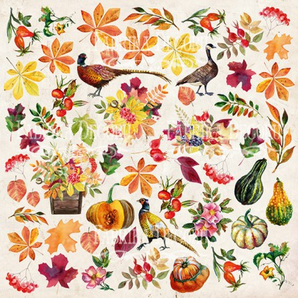 "Elements to cut out 12x12"" - Botany Autumn redesign - Fabrika Decoru"