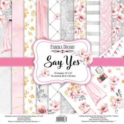Set of scrapbooking papers - Say Yes - Fabrika Decoru - FDSP01068