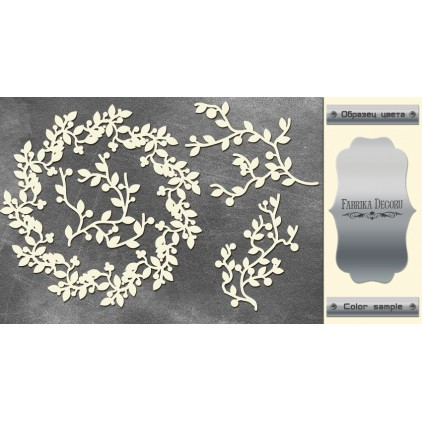 laser cut, chipboard silver foiled - Wreath and twigs - Fabrika Decoru FDCH 084