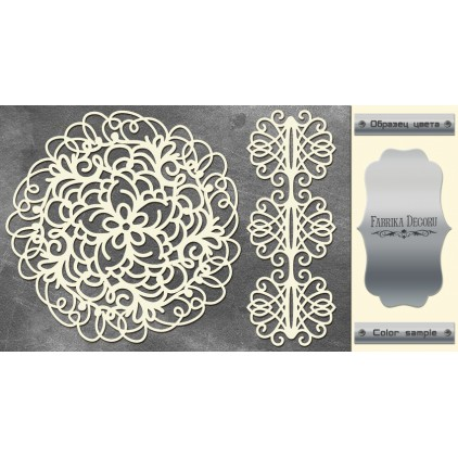 laser cut, chipboard silver foiled - Openwork napkin and border - Fabrika Decoru FDCH 125