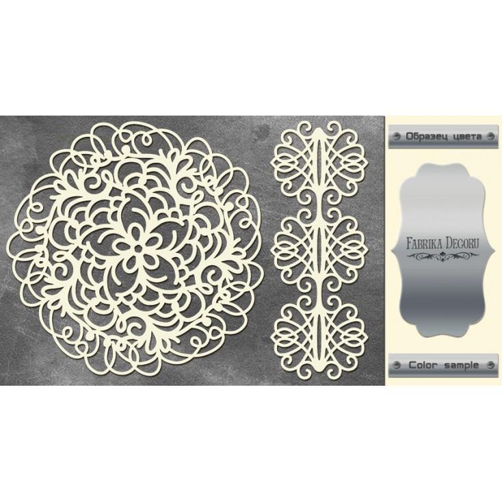 laser cut, chipboard silver foiled - Openwork napkin and border - Fabrika Decoru FDCH 125
