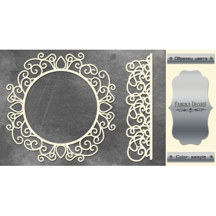 laser cut, chipboard silver foiled - Frame and border - Fabrika Decoru FDCH 74