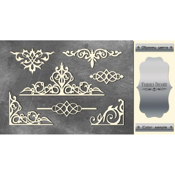 laser cut, chipboard silver foiled - Monograms 2 - Fabrika Decoru FDCH 75
