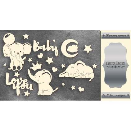 laser cut, chipboard silver foiled - My little baby boy 1- Fabrika Decoru FDCH 108