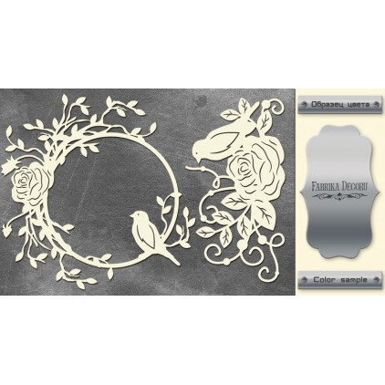 laser cut, chipboard silver foiled - Birds - Fabrika Decoru FDCH 66