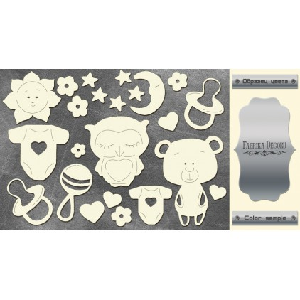 laser cut, chipboard silver foiled - Sweet baby girl - - Fabrika Decoru FDCH 114