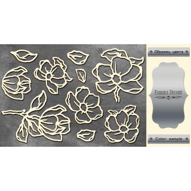 laser cut, chipboard silver foiled - Magnolia Sky - Fabrika Decoru FDCH 06