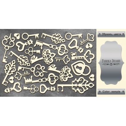 laser cut, chipboard silver foiled - Keys - Fabrika Decoru FDCH 14