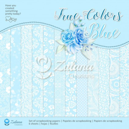 Set of scrapbooking papers - Zulana Creations - True Colors - Blue.