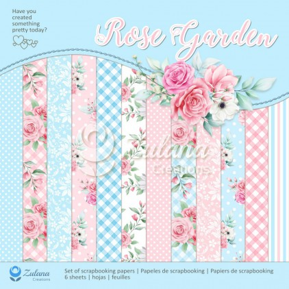 Set of scrapbooking papers - Zulana Creations - Rose Garden