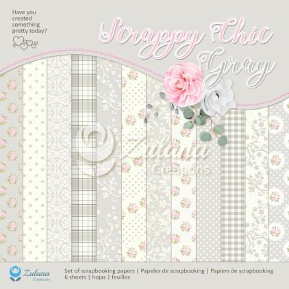 Papiery do kartek, zestaw - Zulana Creations - Scrappy Chic - Gray