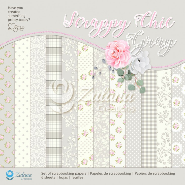 Set of scrapbooking papers - Zulana Creations - Scrappy Chic - Gray